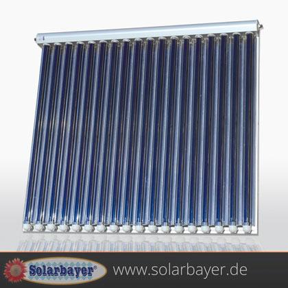Best solar energy yield because of the high-vacuum in special double-shell glass and 58mm thick tubes plus high performance CPC-reflectors; absorber with special-selective coating AL-N/AL.