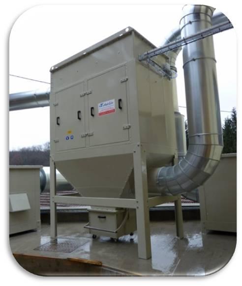 Filtre type ASAC à cartouches filtrantes pour poussières fines et fumées de découpe sur plasma ou laser ou fumées de soudage