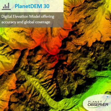 PlanetDEM 30 Plus is the new Digital Elevation Model offering a global coverage at 30-meter resolution and providing seamless, reliable and accurate data.