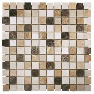 "1""x1"" Spanish Mix marble Polished Mosaic"