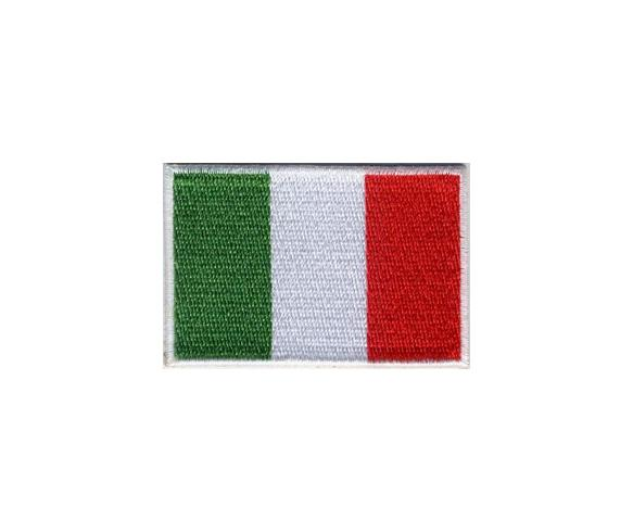 Italy embroidery flag with full embroidery with laser cut border and heat seal backing for iron ore. Embroidered flag badge manufacturer Italia. The patch size is 60x60 mm.