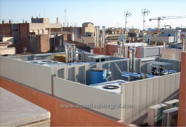 Barrera acústica para máquinas de aire acondicionado o climatizadores. Realizadas con panel modular Acustimódul-80