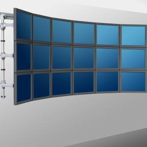 Support mural 18 écrans, composé d'un rail, de 6 mâts sur lesquels sont fixés des rotules Vesa et des bras supports écrans pour créer un mur d'images évolutif.