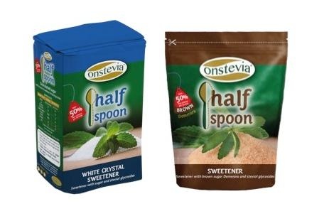 Onstevia Half Spoon Sweetener with stevia and crystal white or brown sugar with only 50% calories per serving, by replacing a spoonful of regular sugar with half spoon of Onstevia Half Spoon Sweetener