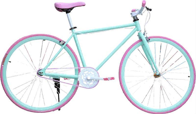 Fixed gear bike / Green-Pink