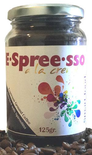Espresso, coffee enriched with Spirulina.