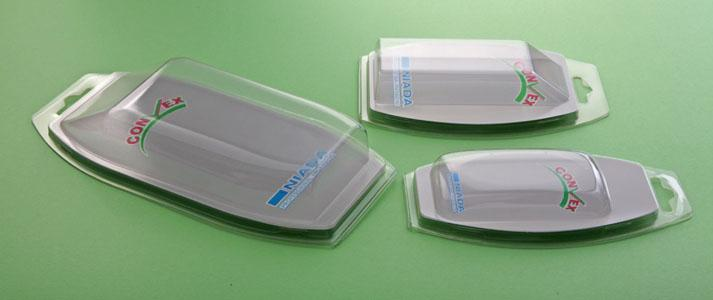 Famiglia di blister protetta da brevetto, disponibili sia nella versione BIVALVA che SFILABILE 3 pieghe. La particolarità dei blister CONVEX® è la sagoma bombata ed accattivante.