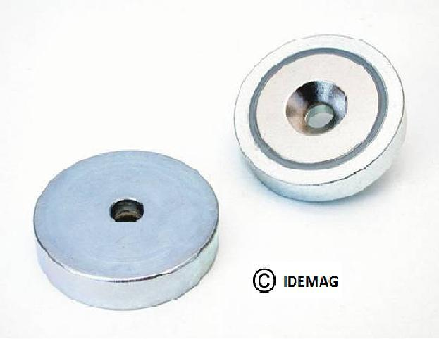 steel shell with a powerful neodymium magnet sunken into one face.  can be supplied with a tapped hole, a countersunk hole, a counter-bored hole, a threaded stud or hook for convenient mounting