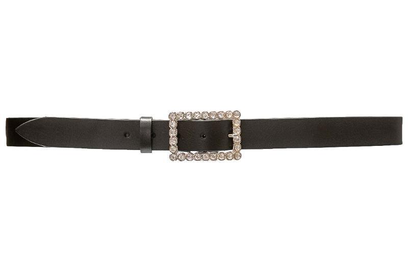 cintura in cuoio con fibbia strass