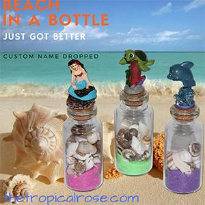 Beach in a bottle name drop souvenirs