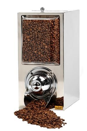 Coffee Bean Dispenser manufactured in stainless chrome metal sheet frame and its internal surface is polished.  DIMENSIONS: H: 39 CM W: 19 CM D: 28 CM CAPACITY: 5 KG