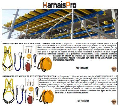 Picture extracts from the catalog HarnaisPro. Kits ready for use establishing a base safe of the individual system of stop of falls in accordance with the regulations.