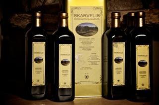 Bottles of Skarvelis Olive oil