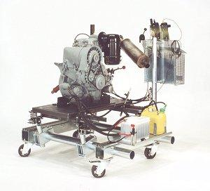 Vehicle engines for performance testing.