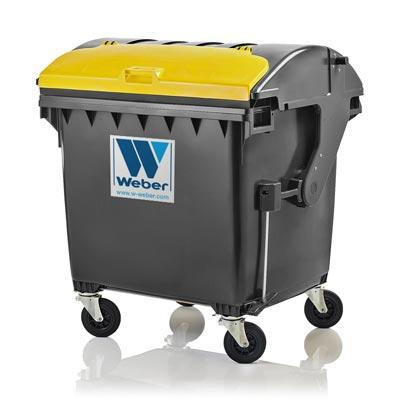 Dustbins & Mobile waste containers 1100 litre round lid, lid-in-lid from Weber