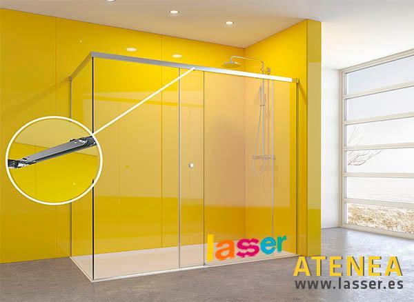 Atenea es la mampara para bañera y ducha con puertas correderas envuelta en acero inoxidable, con las ventajas de la regulación y adaptación a posibles descuadres.