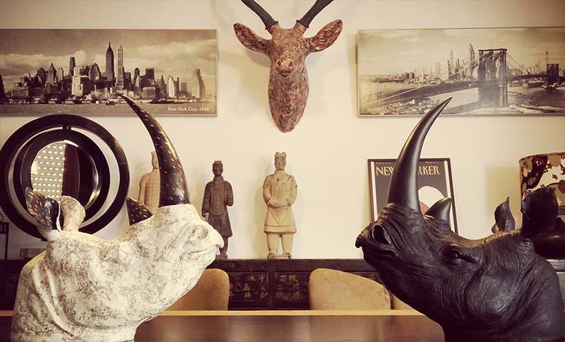 Cabezas rinoceronte decoración