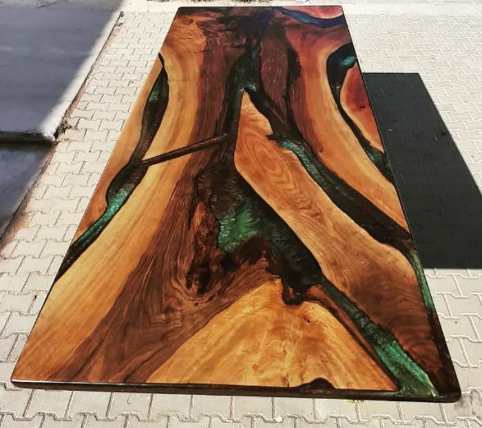Walnut epoxy table