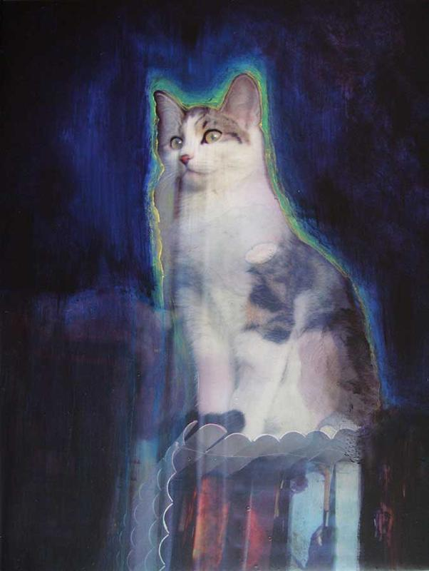 Tableau de peinture d'un chat... orgueilleux ! (Réalisé en 2010 - peinture sur photo)
