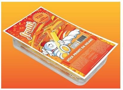 Ghiaccioli da congelare con succo di Frutta ai gusti Arancio, Limone e Pesca.Confezionati in blister da asporto e in scatole espositori