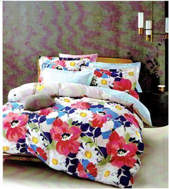 Nouvelle collection satin de coton grande fleur multi couleur disponible en housse de couette en parure de lit