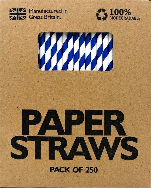 Blue and white paper straws 250 6mmx200mm