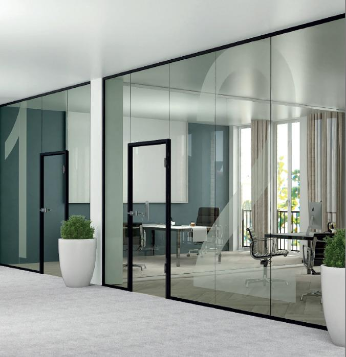 glass partition door frame black