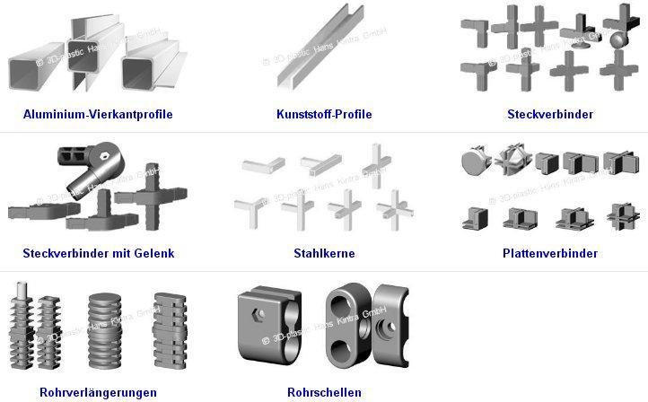 Aluminium-Vierkantprofile, Kunststoff-Profile, Steckverbinder, Steckverbinder mit Gelenk, Stahlkerne, Plattenverbinder, Rohrverlängerungen, Rohrschellen, Aluminum square profiles, plastic profiles