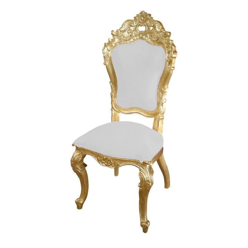 Chaise baroque dorée et blanche