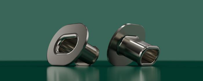 Deep drawn oval bushings for support of plastic castings