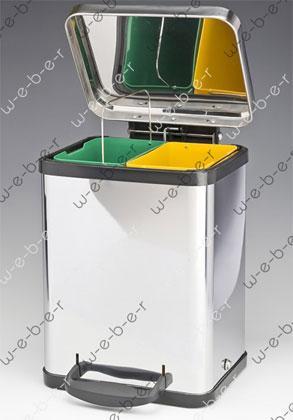 Edelstahlsammelbehälter für 2-fache Mülltrennung