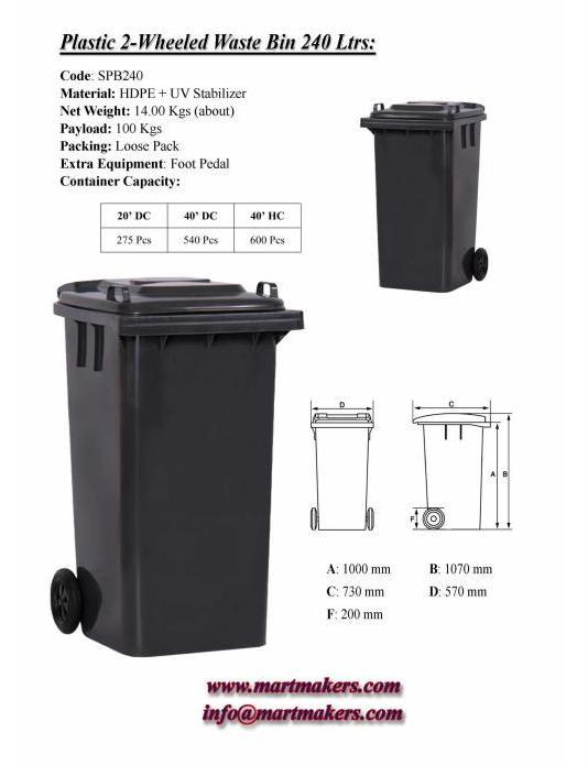 Plastic Waste Bin 240 Ltrs ; Code: SPB 240 ; Material: HDPE + UV Stabilizer; Net Weight: 14.00 Kgs; Payload: 100 Kgs; Packing: Loose Pack; Extra Equipment: Foot Pedal