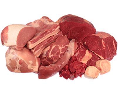 Fleisch vom Rind, Lamm, Wild, Schwein, Kalb, und Geflügel, sowie Innereien und Hackfleisch
