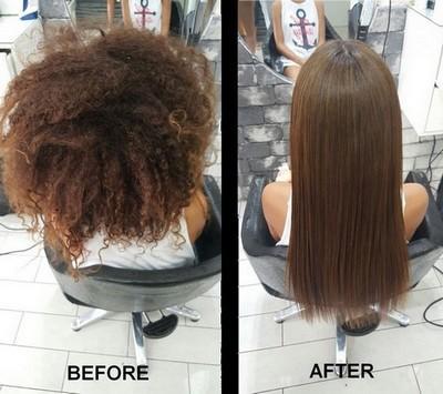Avant et après un lissage avec pH.