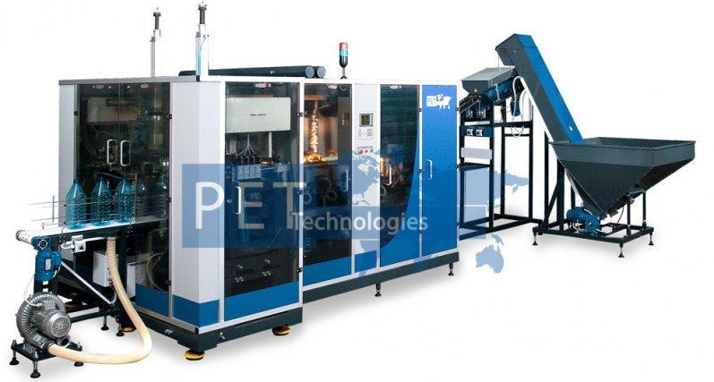 Máquina sopladora para fabricación automática de garrafones PET de 3-10 l. La producción – 1600 b/h de 3-8 l.                                                       700 b/h de 10 l