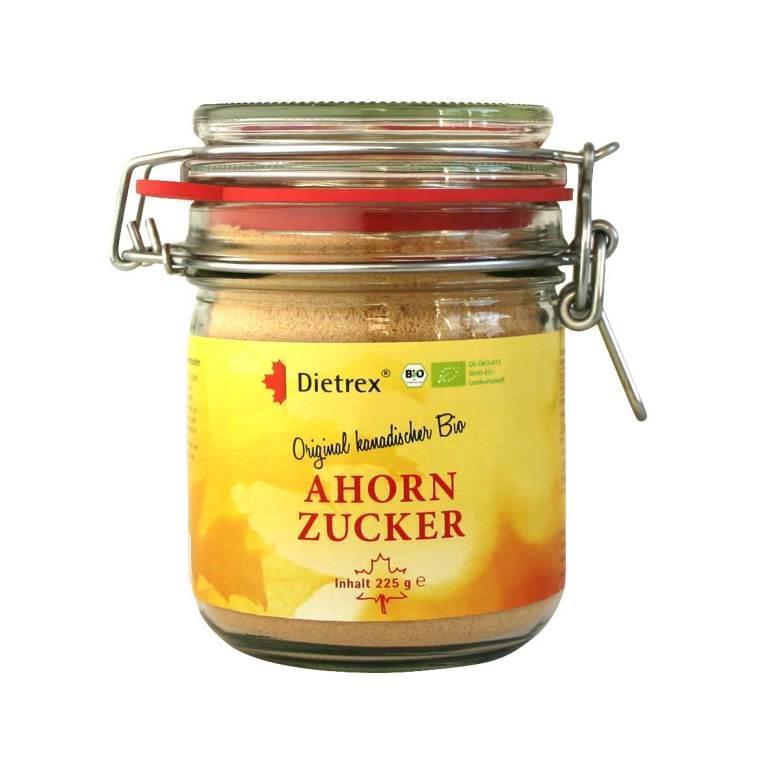 Ahornzucker ist ein reines Naturprodukt ohne Zusätze und gilt als köstliche Alternative zu herkömmlichem Zucker. Erhältlich im Bügelglas oder als Bulkware.