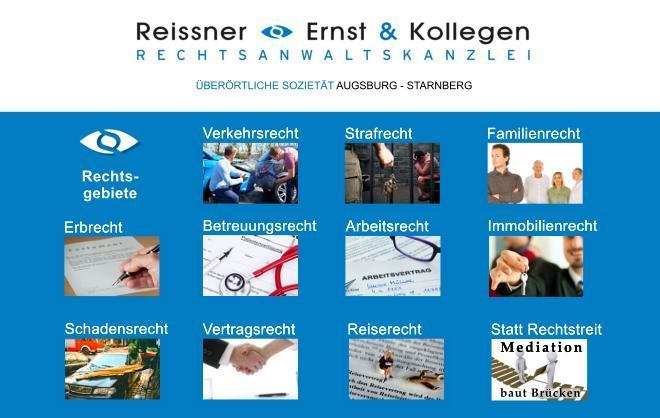 Topical fields of law Rechtsanwälte Reissner, Ernst & Kollegen - Augsburg / Starnberg