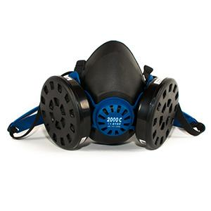 Reusable half mask respirator made in natural rubber for 2 activated carbon filter.
