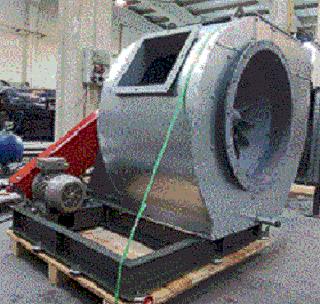 Ventilador Centrifugo para alta temperatura 300ºC con aislamiento y accionamiento con poleas y correas