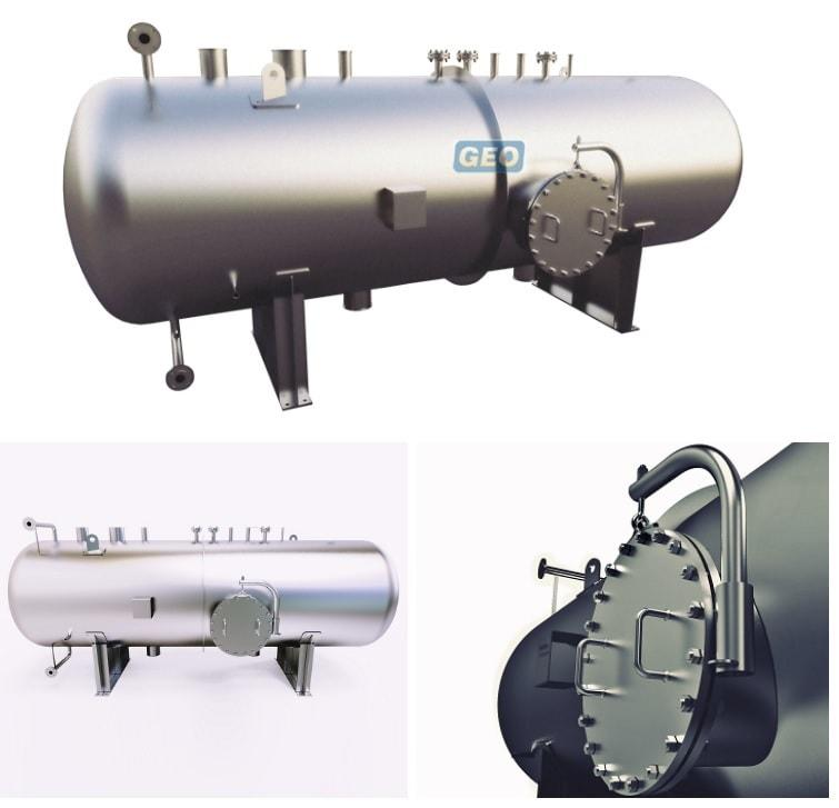 We design manufacture 304 / 316 grade stainless steel or carbon steel high quality, low cost pressure vessels. Our horizontal pressure vessels have a capacity range of 3.000 liters to 200.000 liters.