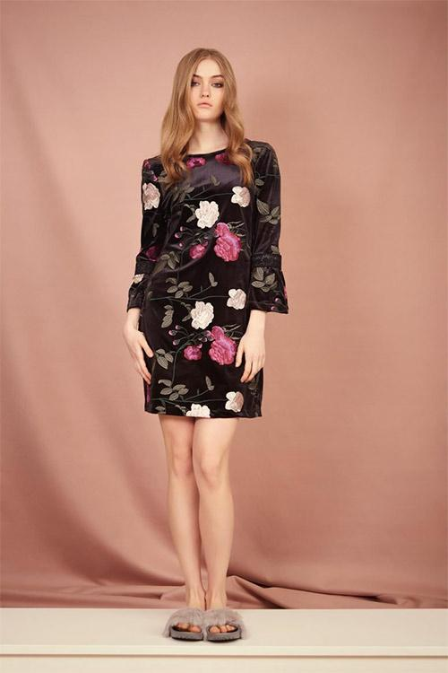 Floral Nocturne Velvet Embroidered Mini Dress