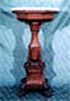 Ebanisteria napoletana prima metà dell'Ottocento. Esclusivo trespolo in piuma di mogano, intarsiato in legno di frutto alla maniera di Gorge Smith. Napoli 1830.