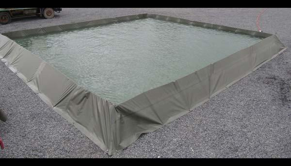 Custom-made flexible berms as additional safety retention basin for pillow storage tanks