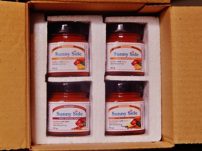 Package of four marmalade jars of 250gr