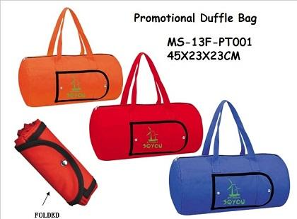 STYLE: MS-13F-PT001 Product Size:45X23X23CM Material:600D POLYES or 210D POLY Color(s) :Orange or Blue or Red Description: Promotional duffle bag Zippered main compatmen
