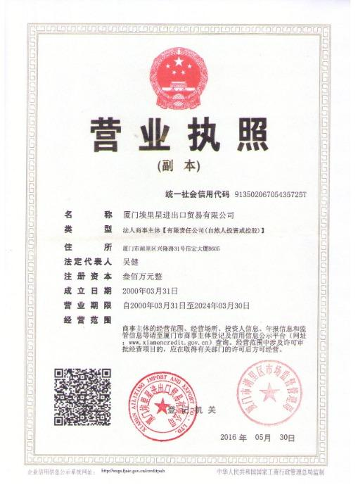 Ailixing Registration Certificate