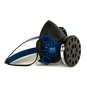 Reusable half mask respirator made in natural rubber for 1 activated carbon filter.