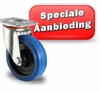 Onze wielen met elastische rubber loopvlak blauw hebben ter introductie een speciale prijs en leveringsvoorwaarden zie onze prijslijst bij downloadbare PDF