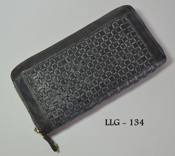 WOVEN WASHED LEATHER WOMAN WALLET