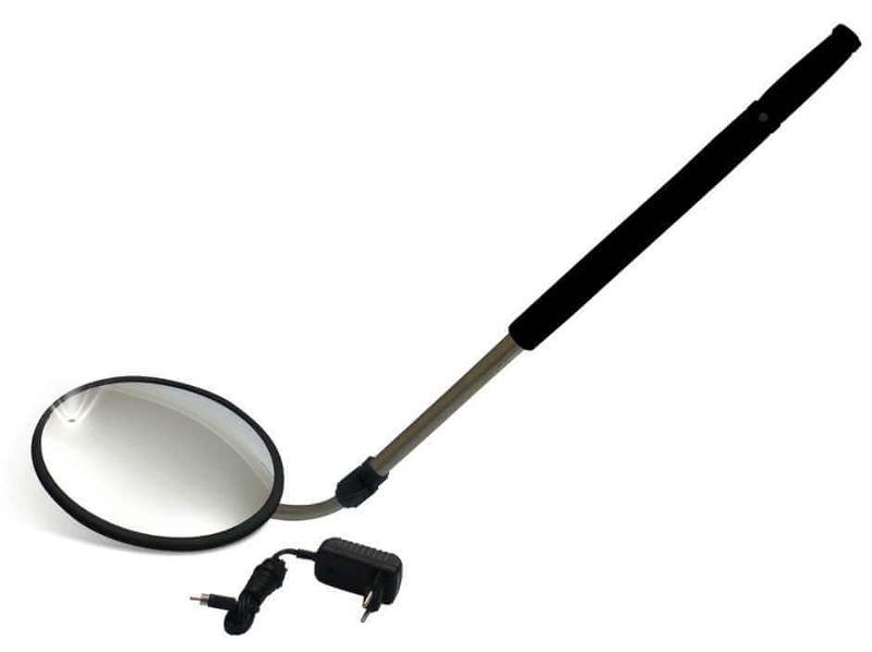 Espejo convexo para la inspección de vehículos, ofrece visualización artefactos dudosos.